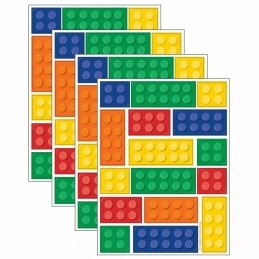 Block Party Stickers (Set of 64)   Lego Party Supplies