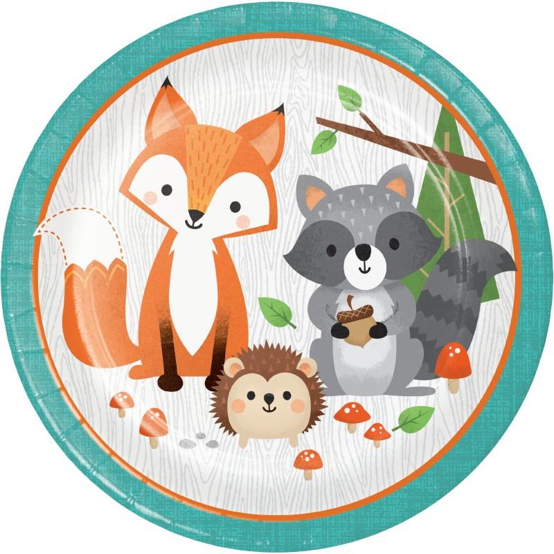 Woodland Animals Large Plates (Pack of 8)
