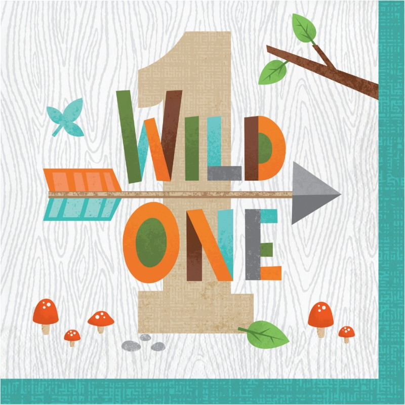 Woodland Animals Wild One Large Napkins (Pack of 16)   Woodland Animals Party Supplies