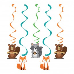 Woodland Animals Swirl Decorations (Set of 5)