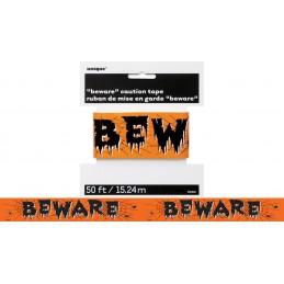 Halloween Beware Caution Tape 15m | Halloween Decorations
