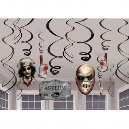 Halloween Asylum Swirl Decorations (Pack of 12)