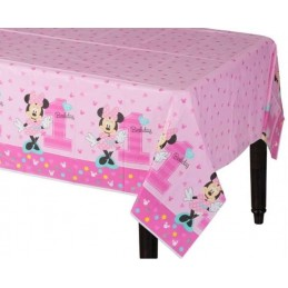 Minnie Mouse 1st Birthday Plastic Tablecloth