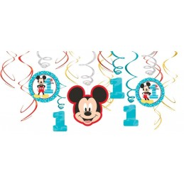 Mickey Mouse 1st Birthday Swirl Decorations (Set of 12)