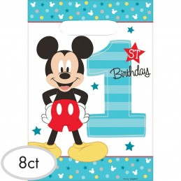 Mickey Mouse 1st Birthday Loot Bags (Pack of 8) | Mickey Mouse 1st Birthday