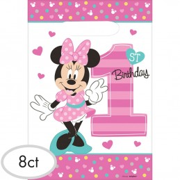 Minnie Mouse 1st Birthday Loot Bags (Pack of 8) | Minnie Mouse 1st Birthday