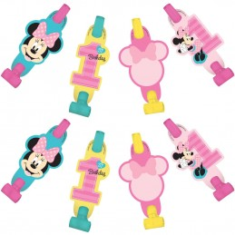 Minnie Mouse 1st Birthday Party Blowers (Pack of 8)