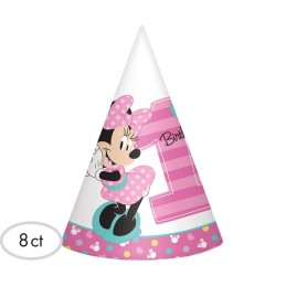 Minnie Mouse 1st Birthday Party Hats (Pack of 8)