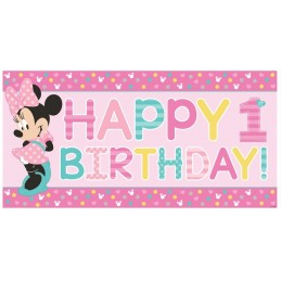 Minnie Mouse 1st Birthday Plastic Banner