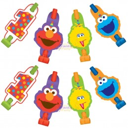 Elmo 1st Birthday Party Blowers (Pack of 8)