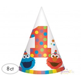 Elmo 1st Birthday Party Hats (Pack of 8)