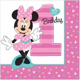 Minnie Mouse 1st Birthday Large Napkins (Pack of 16)