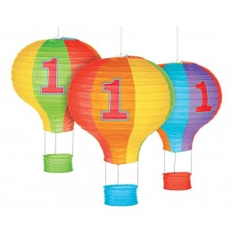 1st Birthday Hot Air Balloon Paper Lanterns (Pack of 3)
