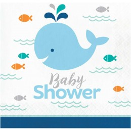 Blue Baby Whale Baby Shower Large Napkins (Pack of 16)