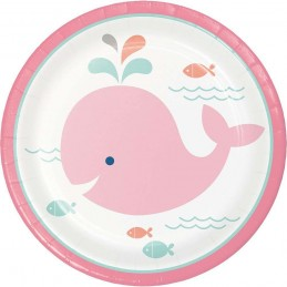 Pink Baby Whale Small Plates (Pack of 8)