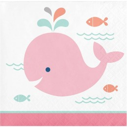 Pink Baby Whale Small Napkins (Pack of 16)