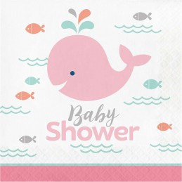 Pink Baby Whale Baby Shower Large Napkins (Pack of 16)