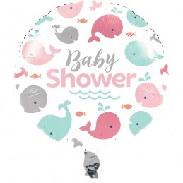 Pink Baby Whale Baby Shower Foil Balloon