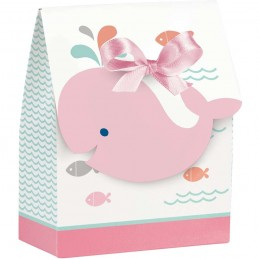 Pink Baby Whale Favour Boxes (Pack of 12)