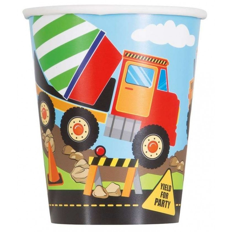 Construction Party Paper Cups (Pack of 8)