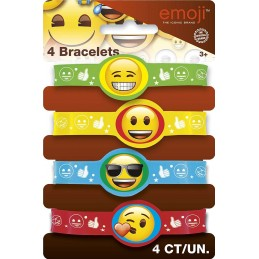 Emoji Rubber Wristbands (Pack of 4)
