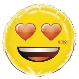 Emoji Heart Eyes Smiley Face Foil Balloon