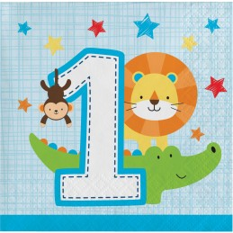 Boys Jungle 1st Birthday Small Napkins (Pack of 16)