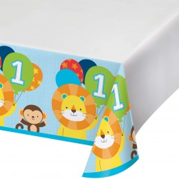 Boys Jungle 1st Birthday Plastic Tablecloth