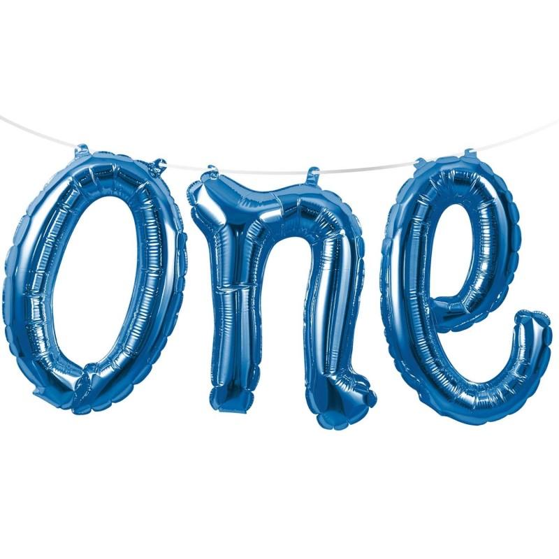Blue 1st Birthday One Foil Letter Balloon Banner