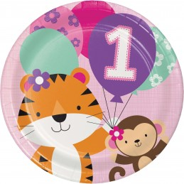 Girls Jungle 1st Birthday Large Plates (Pack of 8) | Girls Jungle 1st Birthday Party Supplies
