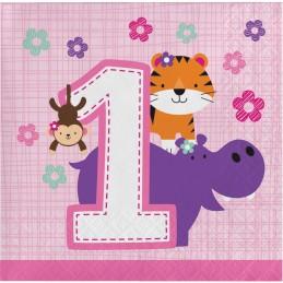 Girls Jungle 1st Birthday Small Napkins (Pack of 16)
