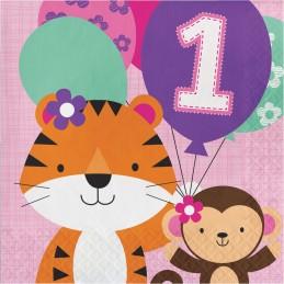 Girls Jungle 1st Birthday Large Napkins (Pack of 16)
