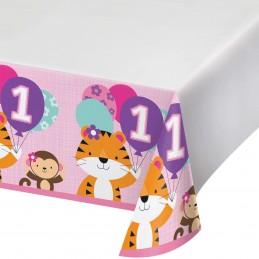 Girls Jungle 1st Birthday Plastic Tablecloth