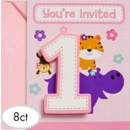 Girls Jungle 1st Birthday Party Invitations (Pack of 8)