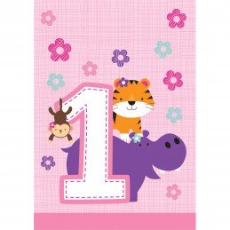 Girls Jungle 1st Birthday Loot Bags (Pack of 8) | Girls Jungle 1st Birthday Party Supplies