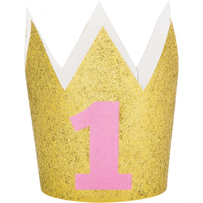 1st Birthday Pink One Glitter Mini Crown