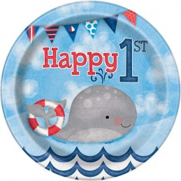 Nautical 1st Birthday Small Paper Plates (Pack of 8)