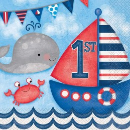 Nautical 1st Birthday Large Napkins (Pack of 16)