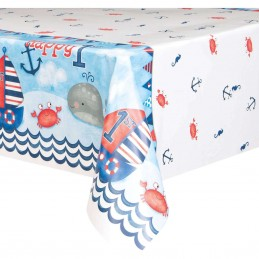 Nautical 1st Birthday Plastic Tablecloth