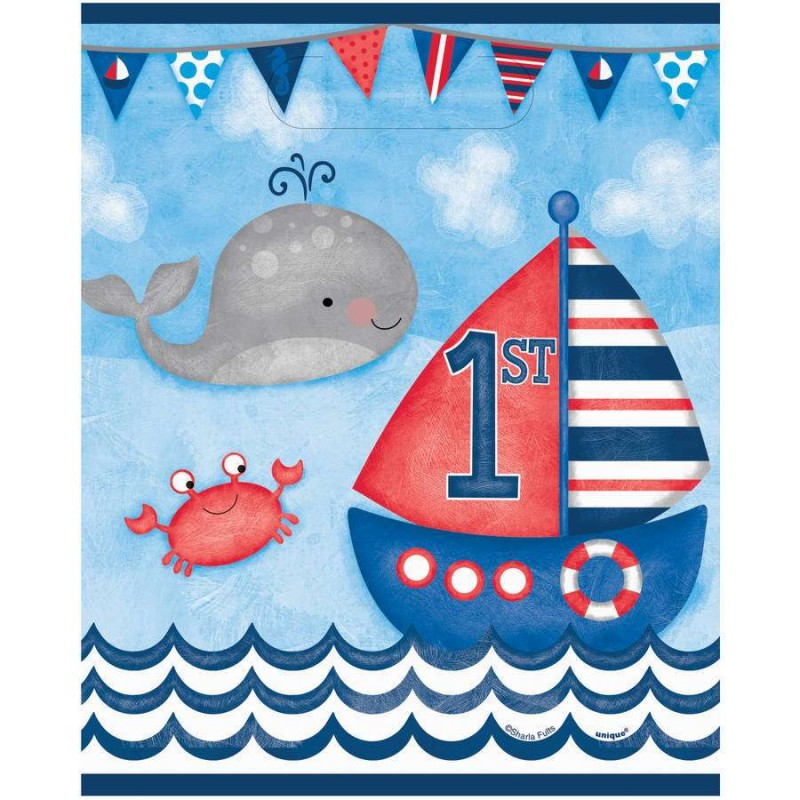 Nautical 1st Birthday Party Bags (Pack of 8)