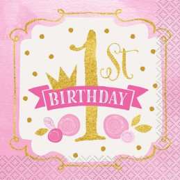 Pink & Gold 1st Birthday Small Napkins (Pack of 16)