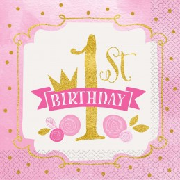 Pink & Gold 1st Birthday Large Napkins (Pack of 16)