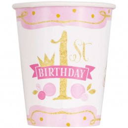 Pink & Gold 1st Birthday Paper Cups (Pack of 8)