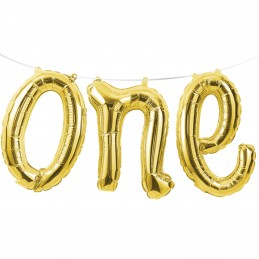 Gold 1st Birthday One Foil Letter Balloon Banner