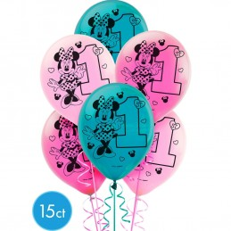 Minnie Mouse 1st Birthday Balloons (Pack of 15)