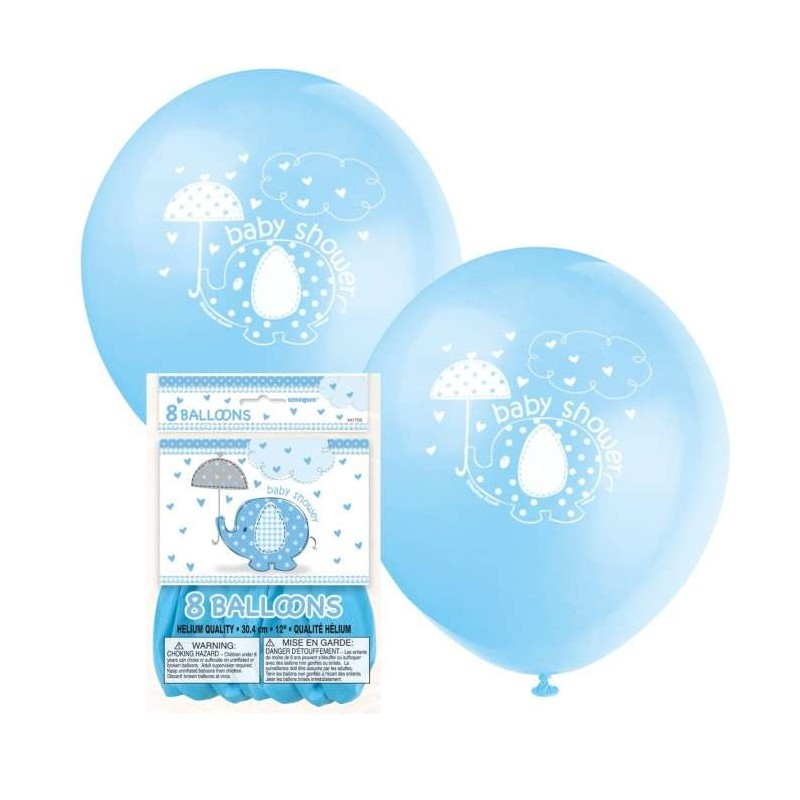 Blue Baby Elephant Baby Shower Balloons (Pack of 8)