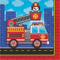 Flaming Fire Truck Large Napkins (Pack of 16)