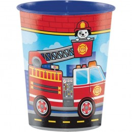 Flaming Fire Truck Plastic Cup