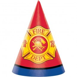 Flaming Fire Truck Party Hats (Pack of 8)