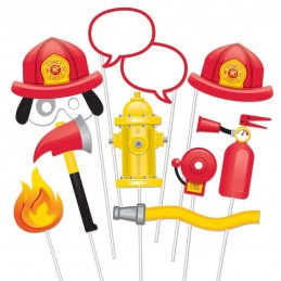 Flaming Fire Truck Photo Booth Props (Set of 10)